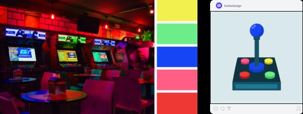 a vibrant color palette using neon colors