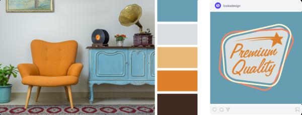 vintage color palette with blue and orange