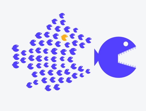 small fish eating large fish to depict visual hierarchy