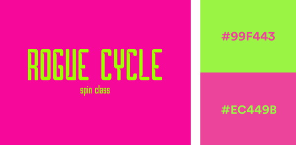 fuchsia and neon green logo color combination