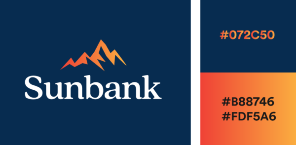 navy blue and orange gradient logo color combination