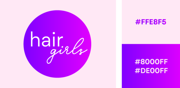 purple gradient logo with pink background