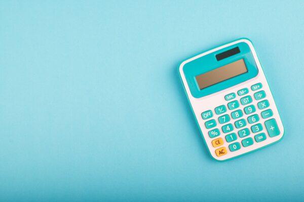 calculator on blue background