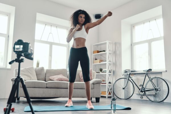 fitness instructor video recording at home