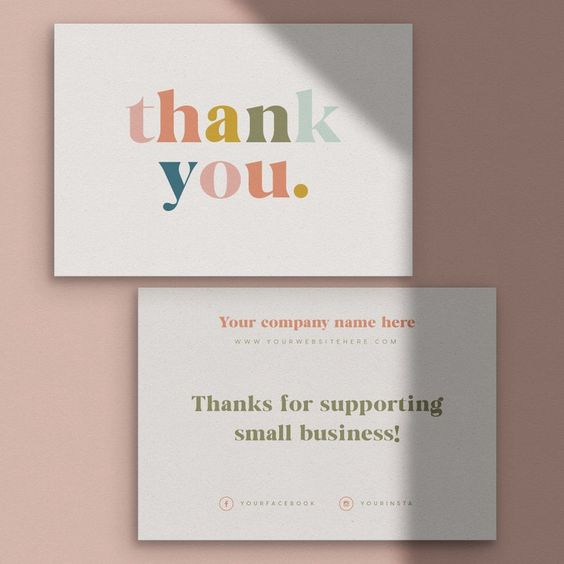 thank you card in branded package