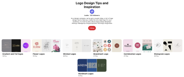 looka pinterest logo boards
