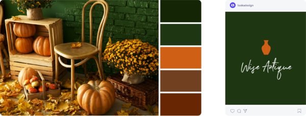 green and orange fall colors