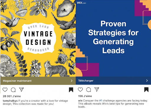 Bold typography in instagram ads