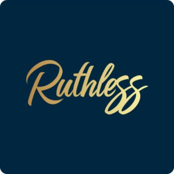 Ruthless Brand Logo - gold logo on blue background