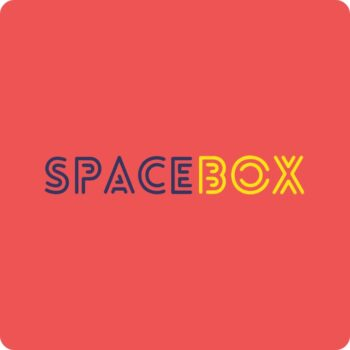 Spacebox Brand Logo - blue and yellow logo on red background
