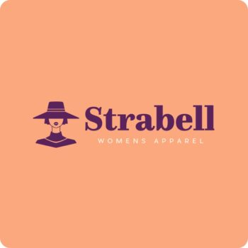 Strabell Brand Logo - purple logo on peach background