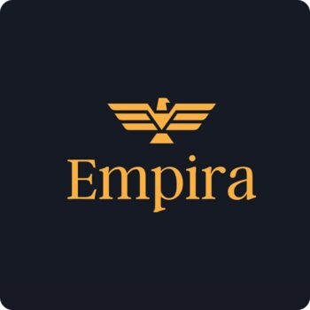 Empira Brand Logo - yellow logo on black background