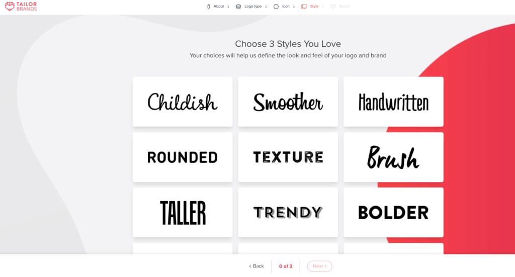 Tailor brands online logo maker selections