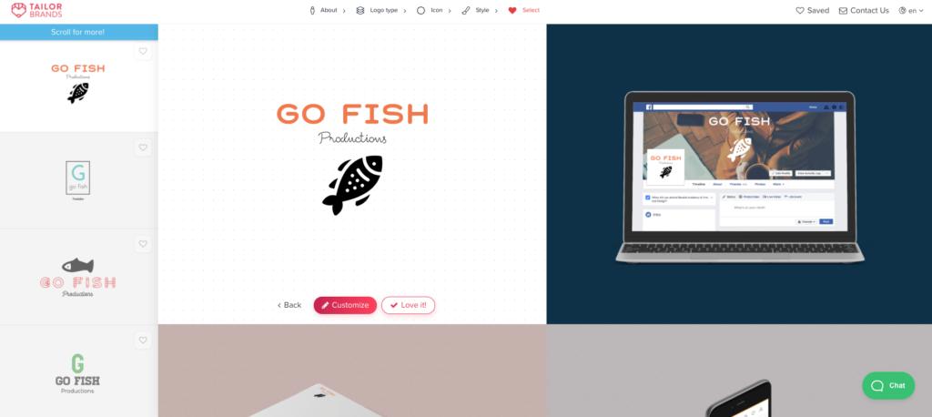 Editing a logo in Tailor Brands online logo maker
