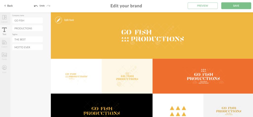 editing a logo in Logaster logo maker online