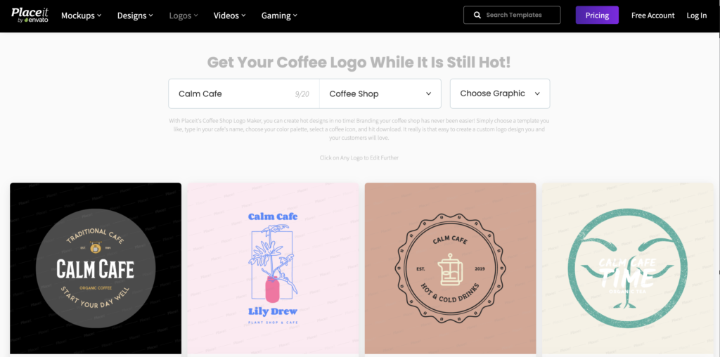 Placeit online logo maker selection
