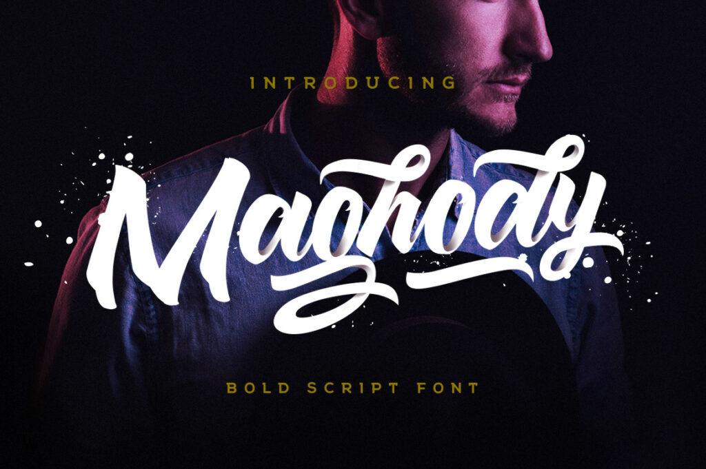 Maghody cursive logo font