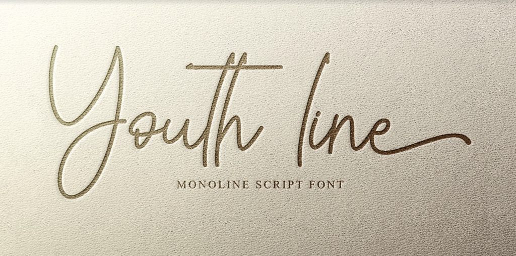 Youth line script font