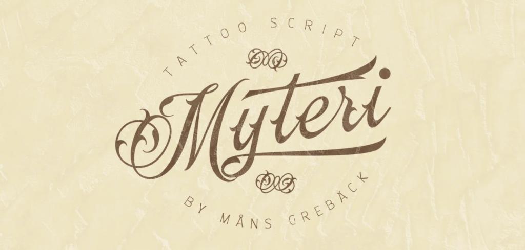 Mysteri cursive logo font