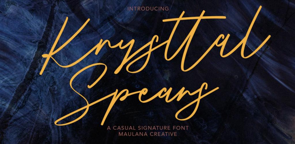 Krysttal Spears scripted font