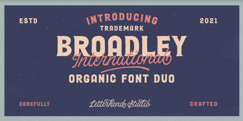 Broadley international cursive font