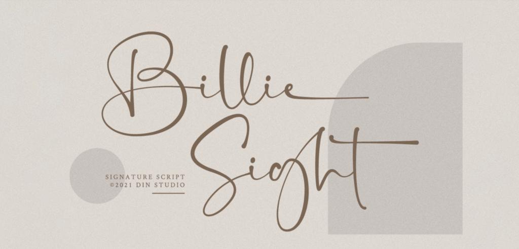 Billie Sight cursive font 2021