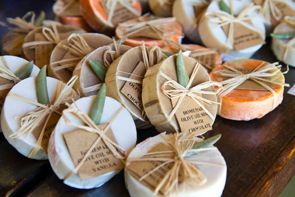 handmade soaps with price tags