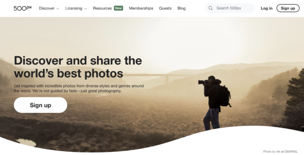 500px place to sell photos online