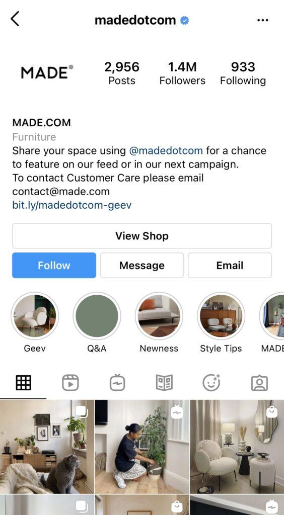 Made.com instagram handle
