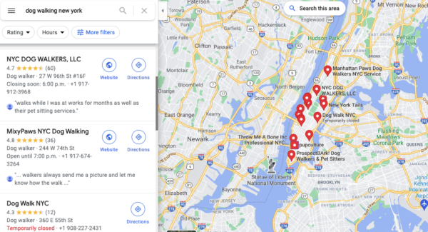 google business listings for dog walking