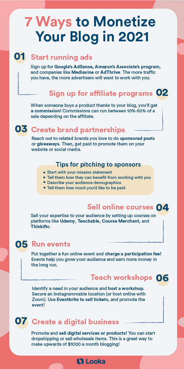 infographic describing how to make money from your blog